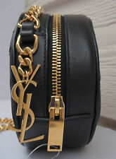 NEW YSL Small Monogram Bubble Crossbody Bag Black Gold Chain Saint Laurent Round