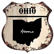 BP0150 HOME OHIO MAP Shield Rustic Chic Sign Bar Shop Home Decor Gift