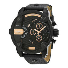 Diesel Little Daddy Dual Time Chronograph Black Dial Leather Mens Watch DZ7291