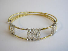2-Strand Gold Tone Seed Bead Clear Crystal Bead Memory Wire Choker Necklace