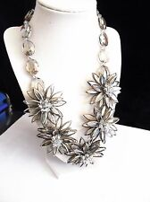 "Joan Rivers Extravagant Glass Flower 20"" Bib Necklace ""Silvertone"" New"