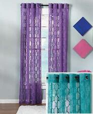 BRIGHT LACE WINDOW CURTAIN: VIBRANT TEAL SEMI SHEER MORROCAN DESIGN, CURTAINS
