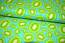 KIWI KIWIS FRUTA fruta EXÓTICO ALGODÓN 0,5 m tela Damas Niños TURQUESA