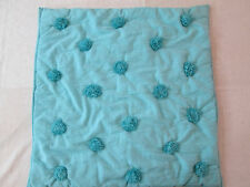 POTTERY BARN Euro Sham ~ Teal Pom Pom Pillow Cover ~ Single Shams