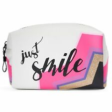 NWT Tri-Coastal Design ''Just Smile'' White Multi Rectangular Cosmetic Bag