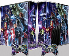 Xbox 360 Slim Skin Sticker Game Console Controller Cover Dust Protector Avengers