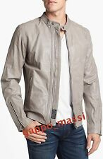 NWT Diesel L-LAGNUM Mens Goat LEATHER RACER Moto Jacket XL X-Large Stone $598