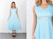 Vintage 60s 70s Blue Midi Dress Cocktail party Sequin Beaded Small S