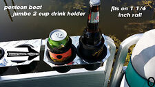 Diamond Plate JUMBO 2 Cup Drink Holder Fits 1 1/4 Inch Pontoon Boat Fence Rail
