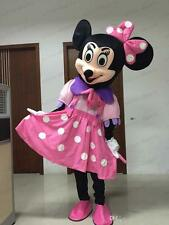 Pink Minnie Mouse Mascot Costume Disney Cartoon Dress Adult Size HalloweenParty