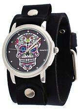 Nemesis GB925K Women's Rock Collection Sugar Skull Wide Leather Cuff Band Watch