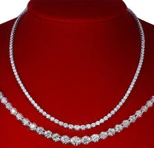ETERNITY DIAMOND NECKLACE ALL THE WAY AROUND ALL GENUINE ALL REAL 14 WHITE GOLD