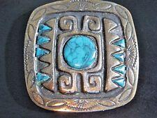 VINTAGE BELT BUCKLE BRONZE FAUX TURQUOISE PERUVIAN MEXICO AZTEC DESIGN ETCHED