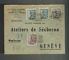 1940 Barcelona Spain Commercial  Airmail Cover to Switzerland