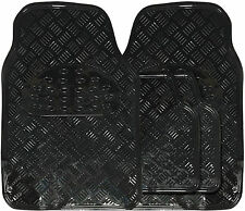 Universal Metallic Black Heavy Duty Durable Checker Plate Rubber Car Floor Mats