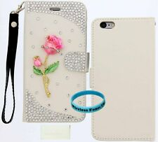 """Rose Charm Bling Wallet Purse PU Card Slot Leather Case Iphone 6 Plus 5.5"""""""