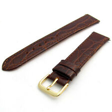 Genuine Flat Calf Leather Watch Strap Crocodile Croc Grain 16mm 18mm 20mm