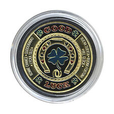 Horseshoe / Clover Leaf GOOD LUCK Gold - Silver Poker CARD GUARD FREE SHIPPING*