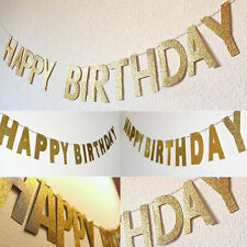 3M Happy Birthday Bunting Garland Gold Letters Party Hanging Banner Photo Props