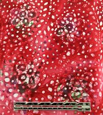 4 Yards New BATIK Quilt Fabric RED/BERRY Red Floral w/ Dots 100% COTTON Pretty