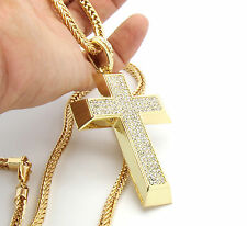 "Men's Gold Plated Iced Out Cross Pendant Hip-Hop 36"" Franco Necklace Chain K9"
