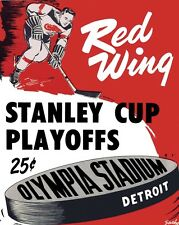 Detroit Red Wings 1954 Poster of Game #4 Cup Finals Program - 8x10 Color Photo