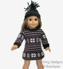 Fair Isle Sweater Dress & Hat Doll Clothes Fits 18 Inch American Girl 2 PC