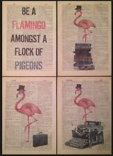 4x Flamenco Rosado Estampados Vintage Diccionario Páginas Decoración Pared Fotos