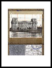 Christo Reichstag XII Poster Kunstdruck Bild mit Alu Rahmen in schwarz 40x30cm