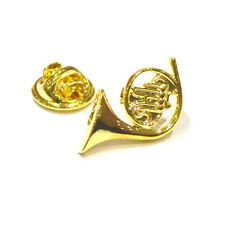 Gold Plated French Horn Lapel Pin Badge Musician Musical Music Notes Gift New