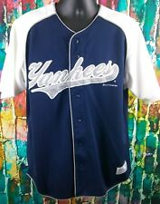 LARGE DYNASTY BLUE AND WHITE NEW YORK YANKEES EMBROIDERED BASEBALL JERSEY MLB