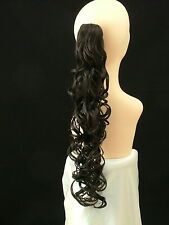 """Clip-On PONY TAIL HAIR EXTENSION Curly 25"""" Medium Brown   #4"""