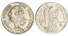 LOUIS XVI CONSTITUTION 15 SOLS LILLE 1792 W ETAT SUPERBE