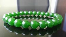 "Genuine Green Taiwanese Jade Quartz Bracelet for Men Stretch AAA 8mm - 8"" inch"