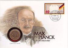 NUMISBRIEF Max Planck 40. centenario della morte con 2 DM moneta da 1958 D