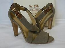 Coach 5.5 M Brea Taupe Suede Open Toe Heels New Womens Shoes