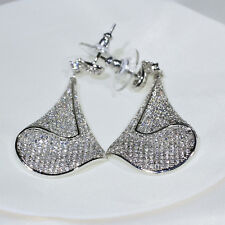 18K White Gold Filled Clear CZ Fashion Jewelry Luxury Lady Dangle Earrings E3755