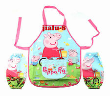 New Pig Children Kids Cartoon Painting Cooking Apron + 2 sleeves