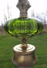 Vintage Brass Mid Century Glass Table Lamp Hollywood Regency globe emerald green