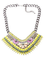 Daisy Yellow Gem,Pink & Orange Flower Diamanté Statement Bib Necklace(Ns12)