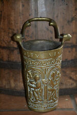 Antique 18th century brass ceremonial church hot coals bucket latin script c1780