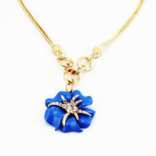 Luxury Gold & Blue Starfish Flower Pendant Evening Party Necklace Jewellery N216