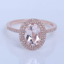 Solid 10K Rose Gold 1.55ct Oval Cut 8x6mm Morganite Diamonds Halo Wedding Ring