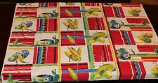 50's VTG WILENDUR Tablecloth Mexican Label Red