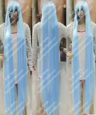 """Women""""s Cos150cm blue white long straight cosplay Heat-Resistant Happydoggy WIG"""