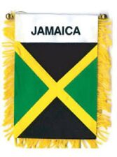 JAMICA MINI BANNER FLAG with BRASS STAFF & SUCTION CUP