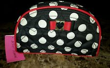 NWT $48 Betsey Johnson COSMO Dome Dots Cosmetic Bag Case Black/White/Red Bow