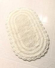 "Elegant Reversible Ivory Cotton Bath Rug 24"" X 40"" Oval Bathroom Mat Home Decor"