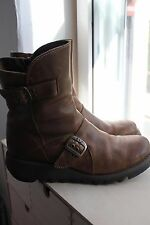 Fab Fly London Seti Low Wedge Ankle Biker Boots - Tan - Size 5
