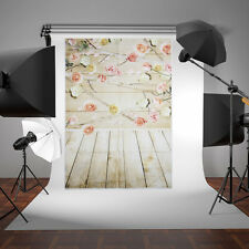Wood Wall Pink Flower Photography Backdrop Background Studio Photo Props 3x5ft